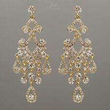 18K Gold Plated GP Clear Crystal Wedding Drop Dangle Chandelier Earrings 00165
