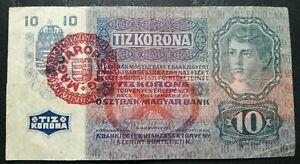 AUSTRIA HUNGARY  10 Korona 1915 Wien Budapest - Overprint MAGYARORSZAK