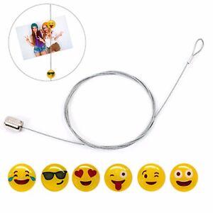 Porta foto Emoji cavo d'acciaio 150cm + 6 emoticon magnetici per fissare le foto