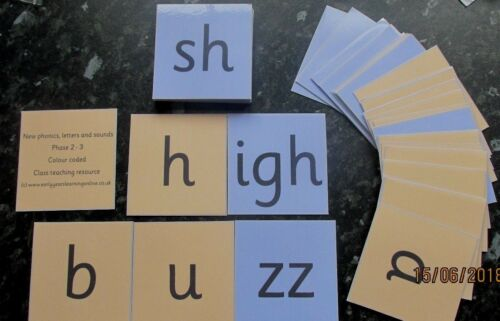 Phonics Letters and Sounds all colour coded flash cards Class size pack for