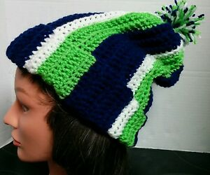 Seattle Seahawks Slouchy Beanie Hat Handmade Crocheted New Fits