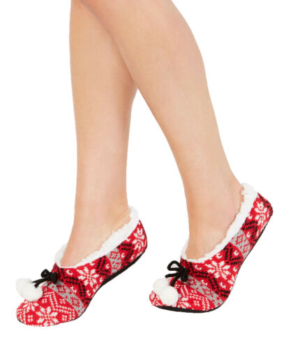 Charter Club Women/'s Fair Isle Slipper Socks Red Large//X-Large