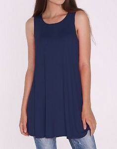 Women-039-s-Navy-Blue-Tunic-Tank-Top-Sleeveless-Solid-Long-Shirt-Blouse-Plus-Size