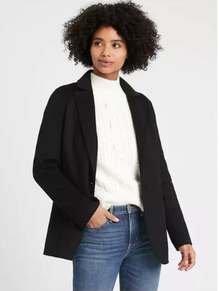 New! Banana Republic Unlined Double Faced Jacket Blazer Black Large #622269