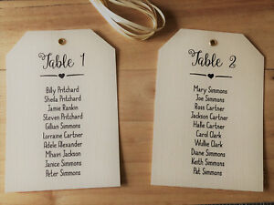 vintage wedding table seating plan tags labels diy personalised
