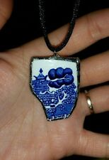 Broken China Jewelry Necklace Pendant Blue White Black silk cord recycled
