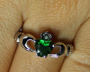 10 kt White Gold Celtic Claddagh Ring W/emerald Stone Heart & AAA CZ Crown stone