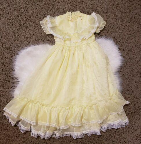 Vintage Girl Dress Size T4 Sweet & Sassy Sheer Yel