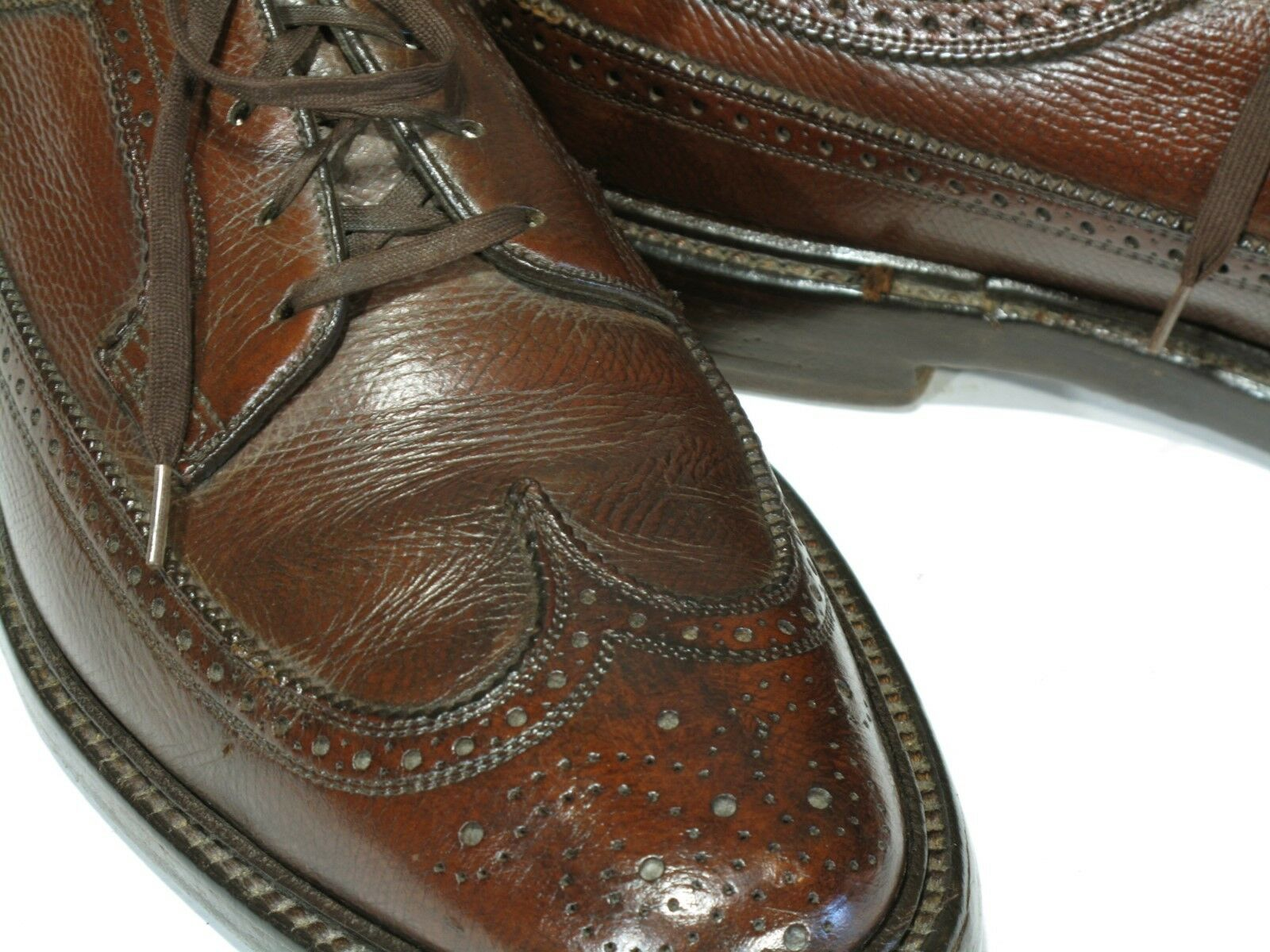 Vintage FLORSHEIM IMPERIAL QUALITY shoes 9C  Longwings 5 Nail V Cleat