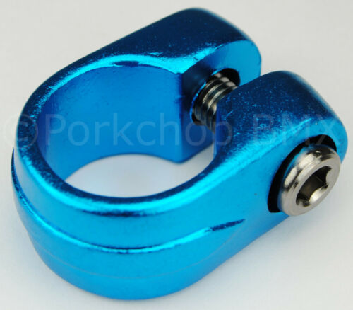 """BLUE ANODIZED 1/"""" Old school Suntour style BMX bicycle seat clamp 25.4mm"""