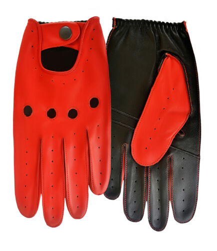 Men/'s Real Leather Driving Gloves Fully Soft Chauffeured Sheep Skin