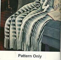 Reversible Afghan Crochet Pattern From A Magazine Checks Stripes Fringe 52x70