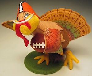 """TOUCHDOWN TURKEY Annalee FOOTBALL Thanksgiving 10"""" Figure Decoration SUPERBOWL!"""
