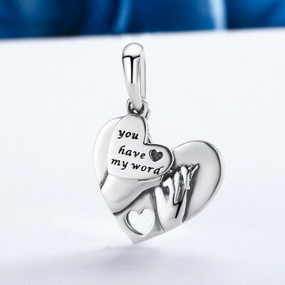 Guitar Musical Note Heart charms silver pendant  Fit European Charm Bracelet #
