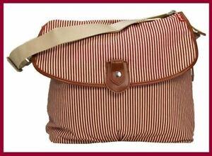Babymel Storksak Diaper Bag, Red Stripe Satchel Baby Nappy Changing Mat Set New