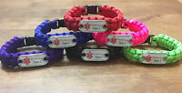 Diabetes alert Paracord Bracelet W/dog Tag Diabetic Awareness, Type 1, Type 2