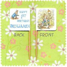 20 PERSONALISED PETER RABBIT BEATRIX POTTER CUP CAKE FLAG Birthday Party Topper