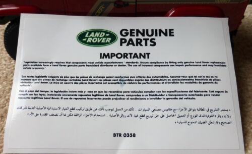 Etiqueta Calcomanía Calentador Piezas Originales información REPRO Land Rover Defender 90 110