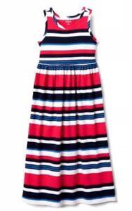 NWT-Gymboree-Girs-Blue-White-Red-Striped-Maxi-Dress-AMERICANA-SHOP-Sz-Xl-14