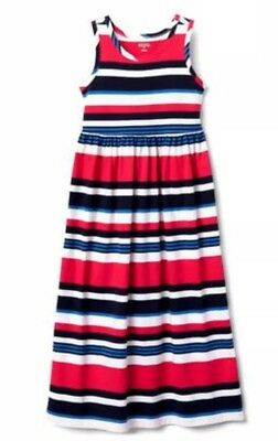 NWT Gymboree Girs Blue White Red Striped Maxi Dress AMERICANA SHOP Sz Xl 14