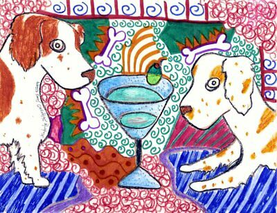 ENGLISH SPRINGER SPANIEL Drinking a Martini Pop Vintage Art 8 x 10 Signed Print