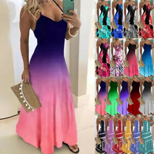 Womens-Boho-Summer-Holiday-Sundress-Ladies-Party-Maxi-Strappy-Long-Sling-Dress