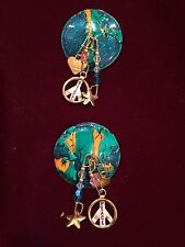 """VINTAGE LUNCH AT THE RITZ """"WORLD PEACE PESTO"""" DANGLE EARRINGS PIERCED, 1986-2003"""