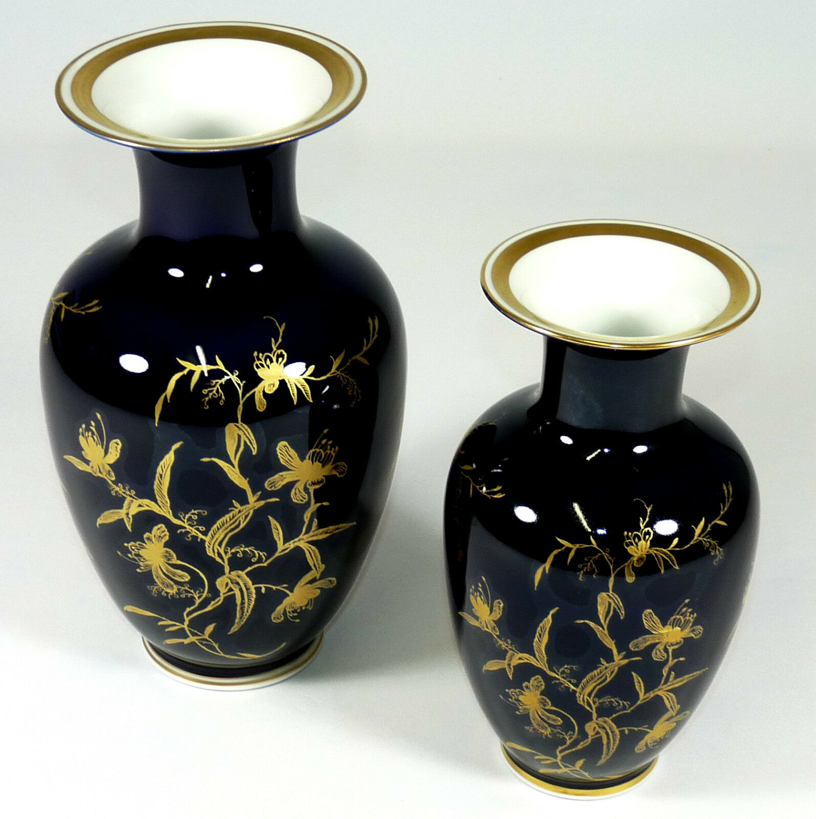 REICHENBACH - BlauMENVASE Vase VASENPAAR - Kobaltblau Gold Thüringen