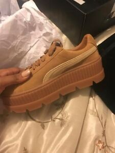 Womens Puma x Fenty By Rihanna Suede Cleated Creeper Golden Brown ... 524a971b7d