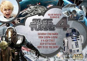 Detalles De Personalizado Niños Fiesta De Cumpleaños Tarjetas De Invitaciones Star Wars 8 Tarjeta De Agradecimiento Ver Título Original
