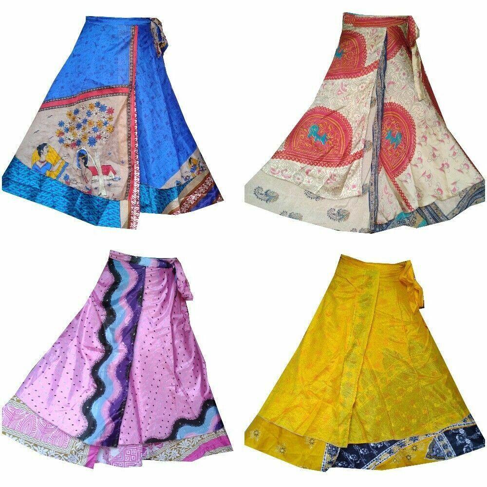 10 Stück Menge Vintage Seide Sari Wrap Röcke 36