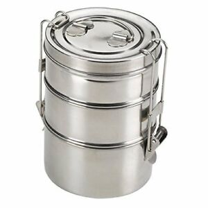 Stainless-Steel-Lunch-Box-3-Tier-Indian-Tiffin-Round-Food-Container-Carrier-Set
