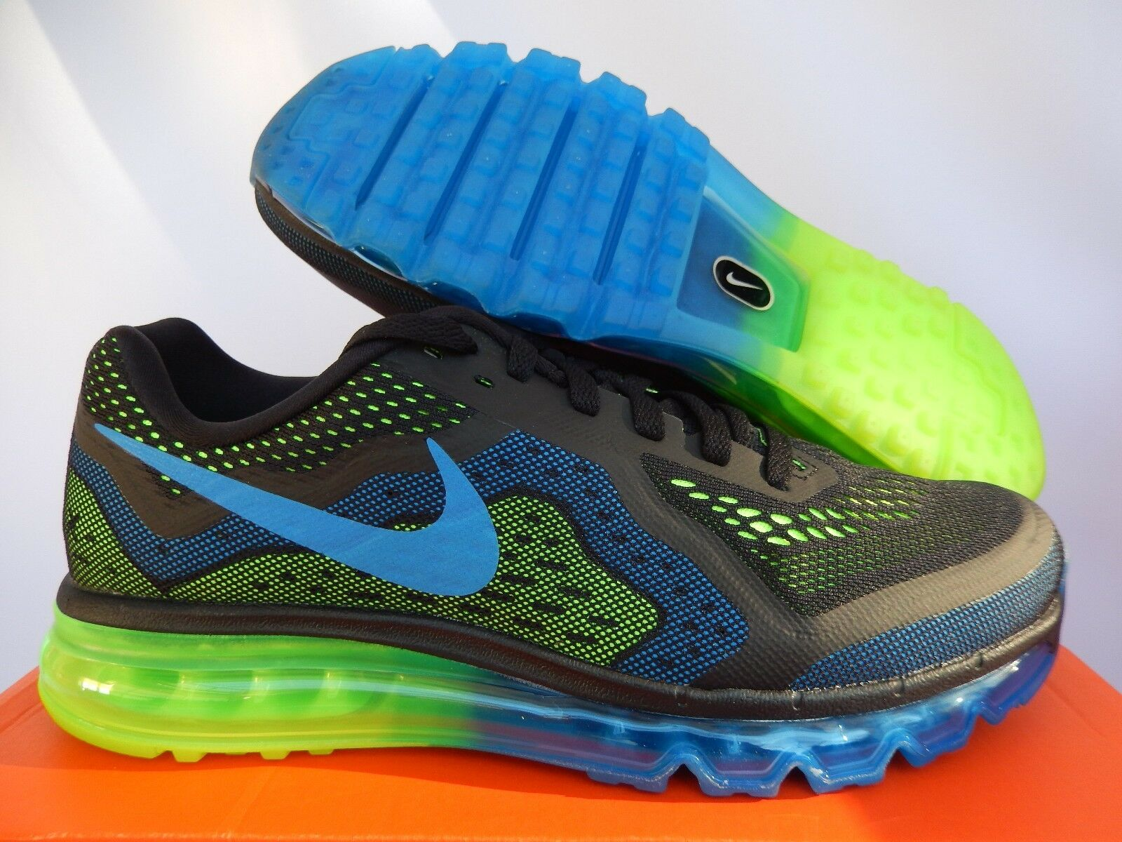 sports shoes 110f2 06e7e NIKE AIR MAX 2014 BLACK-PHOTO BLUE-ELECTRIC GREEN-LIME SZ 10