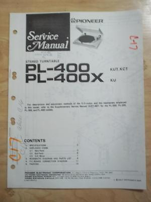 Pioneer Service Manual for the PL-400 PL-400X Turntable ~ mp