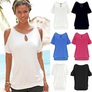 39ef7f8728c032 UK Womens Off Shoulder Cut Out Sleeve T-Shirt Ladies Summer Casual ...