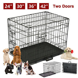 42-034-36-034-30-034-24-034-Folding-Cat-Dog-Crate-Pet-Kennel-Metal-Cage-Tray-Playpen-2-Doors