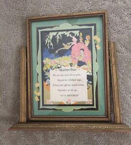 Vtg-Motto-Mother-Dear-1930-Art-Publishing-Co-Chicago-In-Vtg-Tilt-Frame