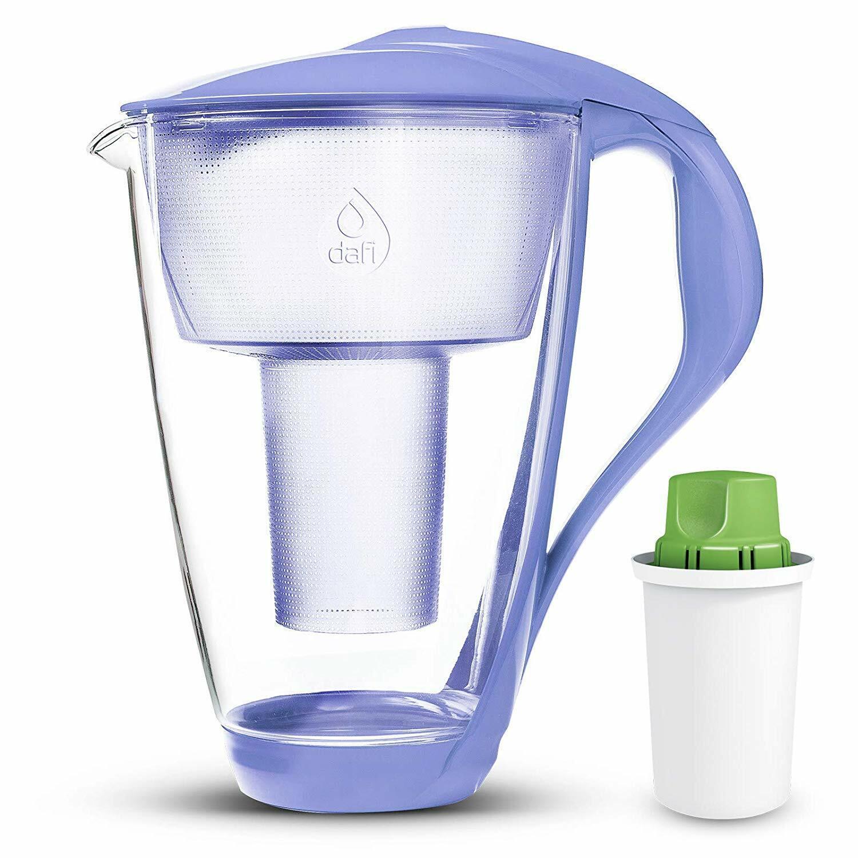 DAFI Alkaline UP verre cristal eau pichet + pH alcalin Filtre à Eau VIOLET