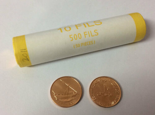 UNITED ARAB EMIRATES UAE 10 FILS GULF DHOW SHIP COIN UNC ONE ROLL 50 PCS
