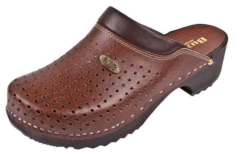 En Bois Sabots Couleur Brun F11 suédois de style. US Taille de chaussure (Femme)