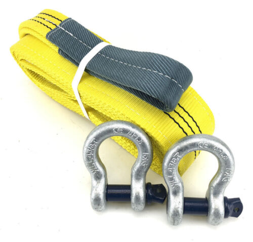 3 Tonne Tow Strap x 6 Metres With 4.75 Tonne Shackles, Recovery Strap, 3000kg