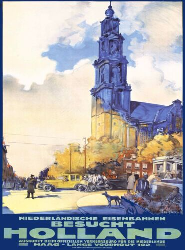 Besucht Holland Dutch Netherlands Vintage Travel Advertisement Poster