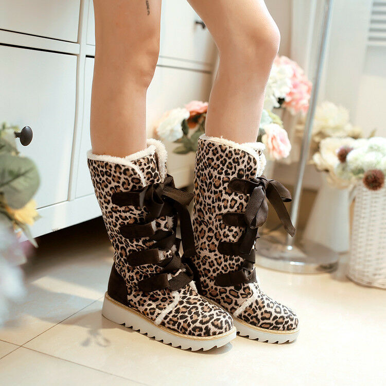 Leopard Winter Warm Mid Calf Boots Lace up Creeper Cuffed Womens shoes Plus Size