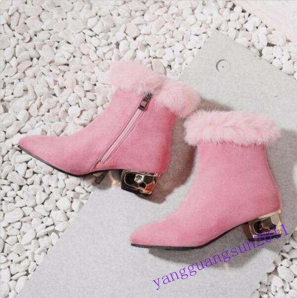 Occident ladies ankle boots pointy toe chunky block heels faux suede fur trim US