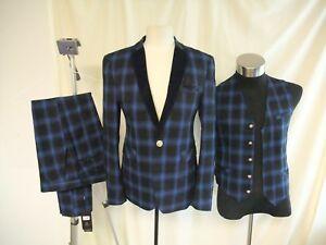 Mens-3-pc-Suit-Chinese-designer-size-S-royal-blue-black-check-mixed-fibre-8238