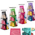 Closet Hanger Storage Bag Organizer Wardrobe Rack For Handbag Purse Pouch 6 Slot
