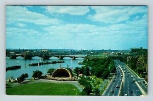 Chrome-View-of-Hatch-Music-Shell-Charles-River-Basin-Cambridge-MA-Postcard-X26