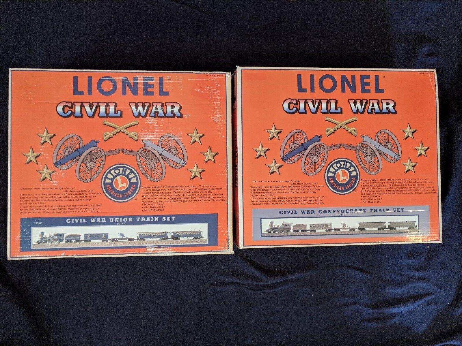 LIONEL Civil War Union 6-21900 & Confederate 6-21901 Train Sets