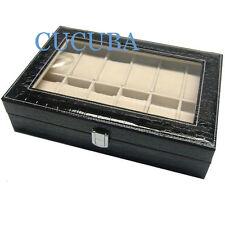 BOX SCATOLA CUSTODIA CON VETRINA PORTAOROLOGI IN ECOPELLE 12 POSTI (b3)