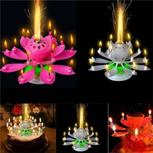 Magic Birthday Lotus Flower Candle Decor Blossom Musical Rotating for Party .s